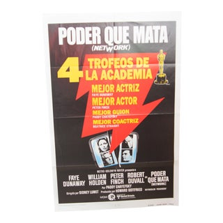"""1976 Original """"Network"""" in Spanish """"Poder Que Mata"""" Movie Poster For Sale"""