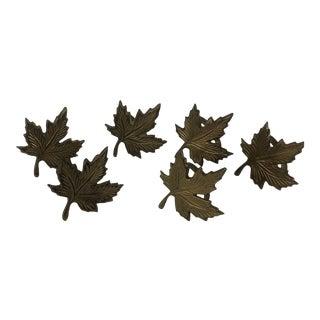 Brass Leaf Napkin Rings - Set of 6 For Sale