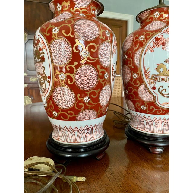 Wood Vintage Gold Imari Red and Gold Lamps - a Pair For Sale - Image 7 of 13