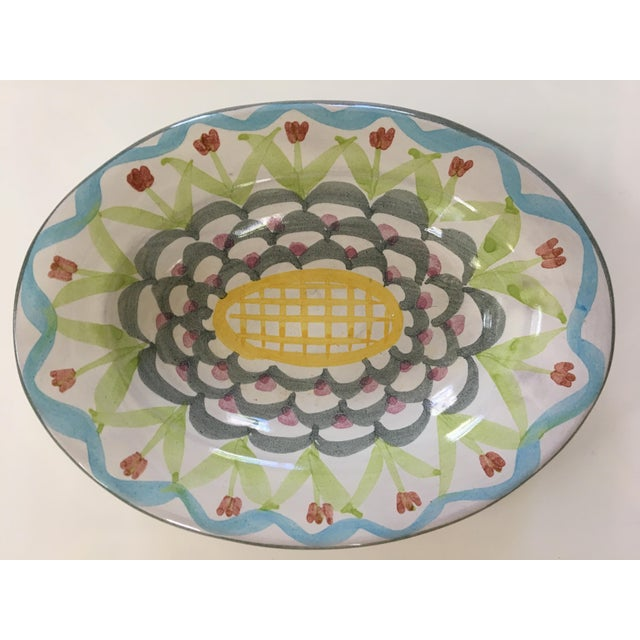 Vintage MacKenzie-Childs Hand Painted Dish / Catchall in King Ferry Pattern For Sale - Image 11 of 11