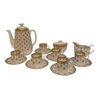 Spode Coffee Pot, Demitasse-Cups and Saucers, Cream and Sugar Set - 17 Pieces For Sale
