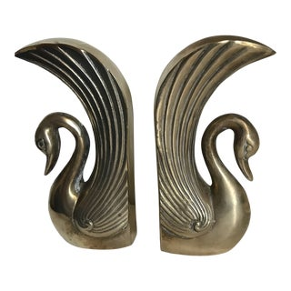 Vintage Large Solid Brass Art Deco Styling Bookends - a Pair For Sale
