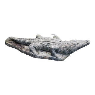 Mid-20th Century Cast Stone Crocodile Garden Ornament For Sale