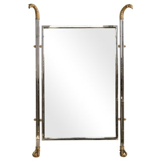 Italian Vanity Mirror Bronze & Chrome Eagle Head With Ball & Claw Feet For Sale