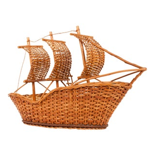 Vintage Wicker Ship For Sale