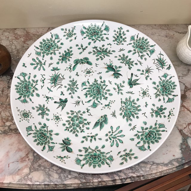 Mid 20th Century Green & White Butterfly Charger For Sale - Image 5 of 5