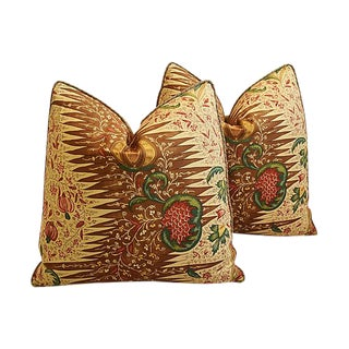 "Custom Pierre Frey & Scalamandré Velvet Feather/Down Pillows 21"" Square - Pair"