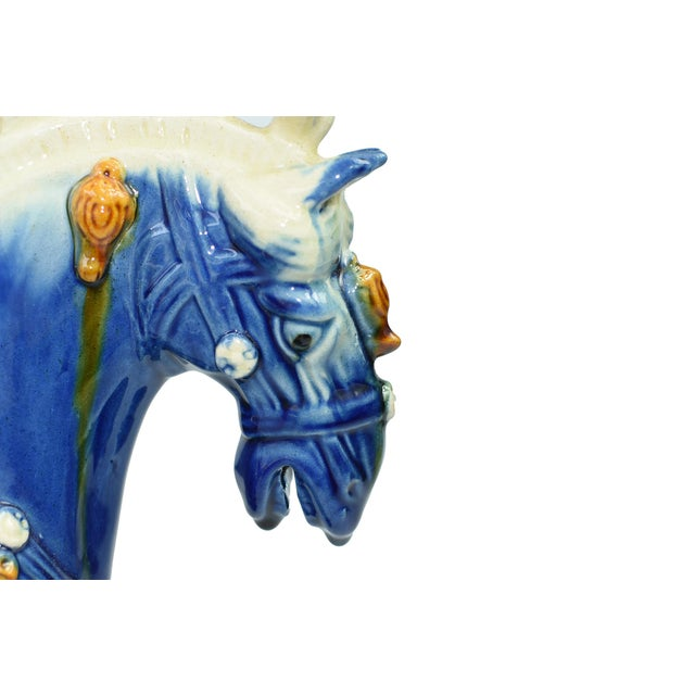 Traditional Chinese Blue Terra Cotta Pottery Horse For Sale - Image 4 of 11