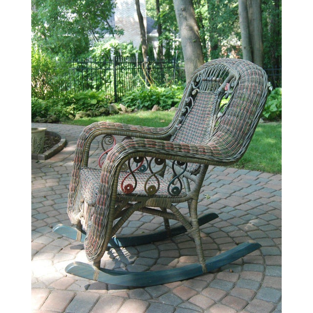 Boho Chic Beaded Green & Red Woven Wicker Rocker For Sale - Image 3 of 8
