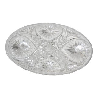 Vintage Cut Lead Crystal Heavy Oval Platter For Sale