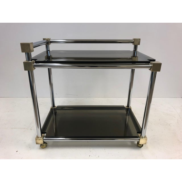 1960s Mid-Century Modern Two-Tier Brass, Chrome and Smoked Glass Bar Cart For Sale - Image 5 of 5