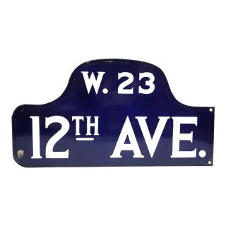 Antique New York City Porcelain Double Sided Humpback Sign - 12th Ave. And W. 23 St. - Chelsea For Sale