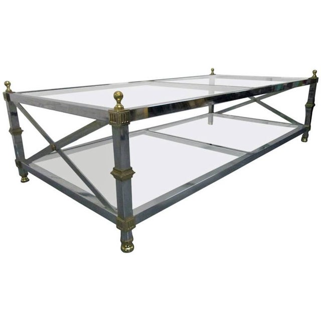 Chrome and Brass Coffee Table For Sale In New York - Image 6 of 6