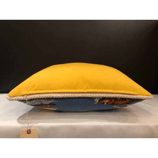 2010s Nautical Scalamandre Breezy Point Blue Linen Print Pillow #2 For Sale - Image 5 of 6