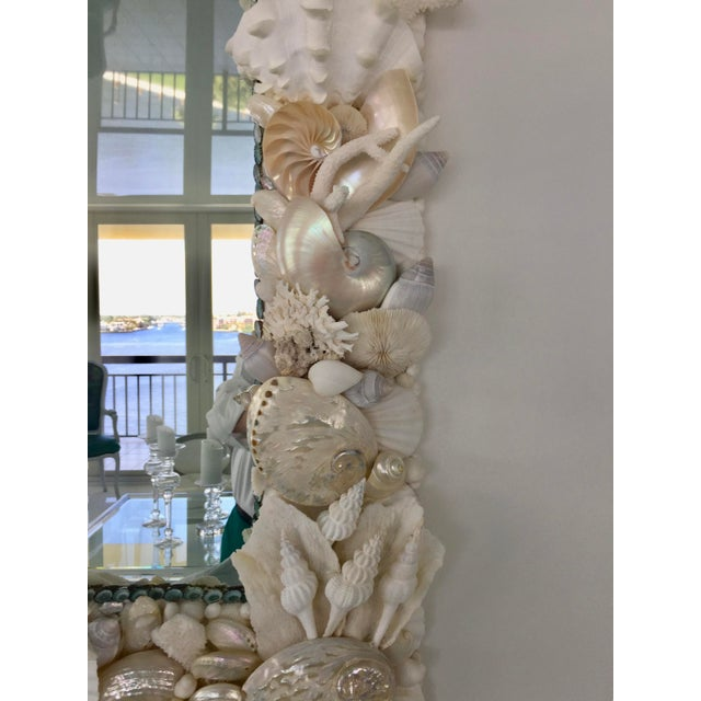 Turquoise Large Horizontal Seashell & Coral Mirror For Sale - Image 8 of 10
