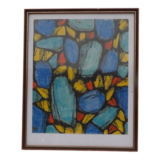 Abstract Original Mariette Bevington Drawing, Stain Glass Study For Sale