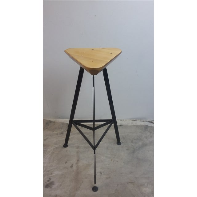 Delta Steel and Pine Stool For Sale - Image 5 of 6