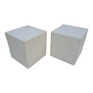 Vintage Plaster Cube Side Tables - A Pair For Sale