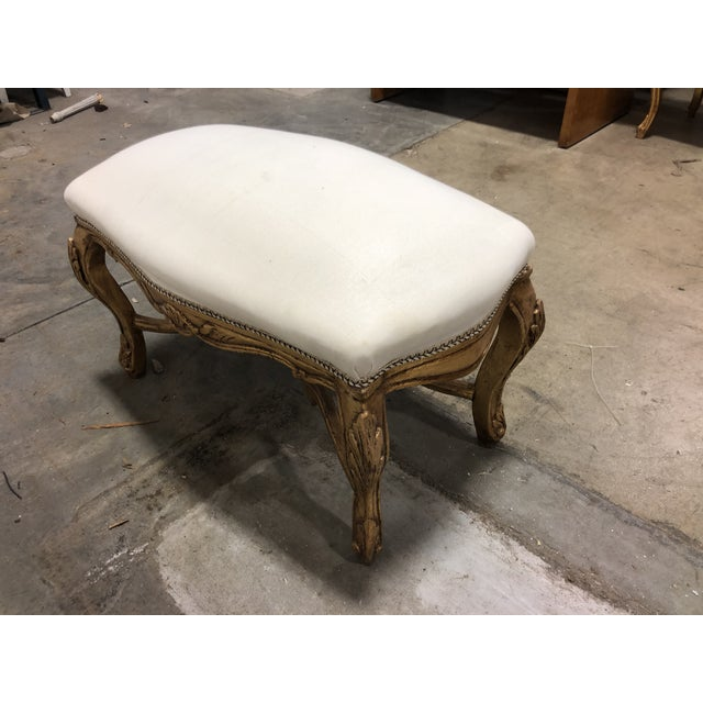 Country Vintage Louis XV Upholstered Giltwood Curved Top Bench With Pedestal For Sale - Image 3 of 6