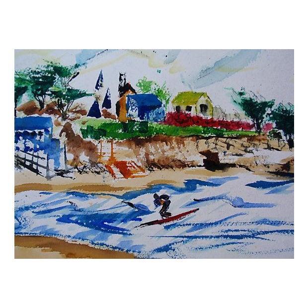Vintage Laguna Beach Cove Watercolor Painting - Image 2 of 3