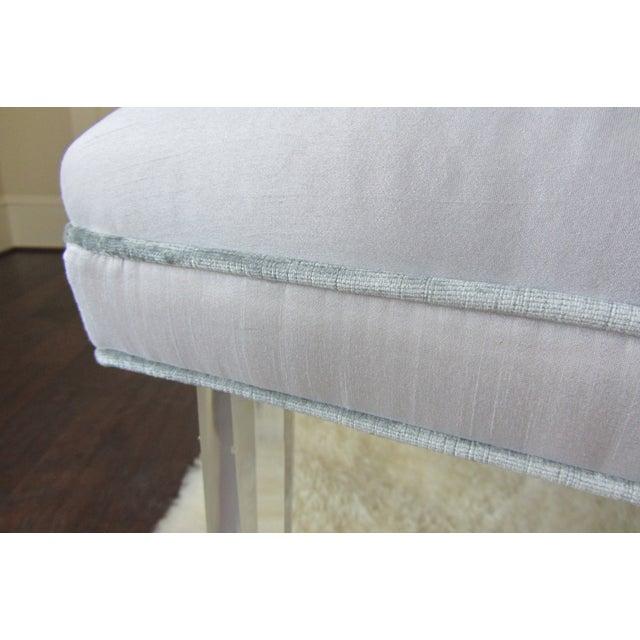 Tufted Silk & Velvet Lucite Bench - Image 3 of 6