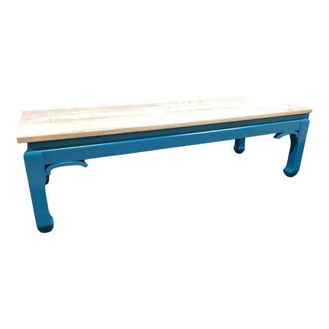 20th Century Ming Blue Chow Leg Marble Coffee Table For Sale