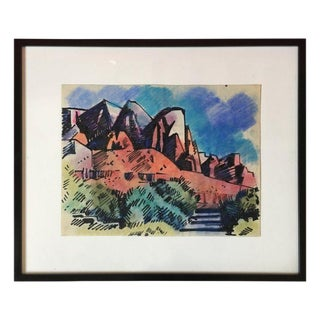 Landscape Pastel by Erle Loran #4 For Sale