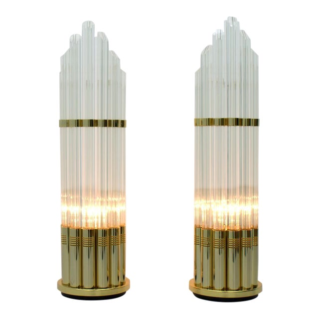 Pair of Murano Glass Table Lamps With Gilded Base, Italy, 1970s For Sale