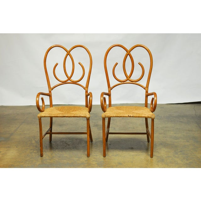 French Art Deco Style Rattan Armchairs - Pair - Image 2 of 10