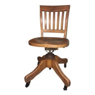 1920s Early American Oak Swivel Desk Chair For Sale