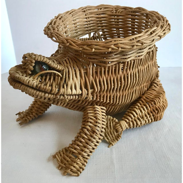 Country 20th Century Country Wicker Frog Planter Basket For Sale - Image 3 of 9