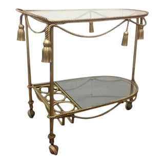 Italian Gilt Metal Rope and Tassel Bar Cart For Sale
