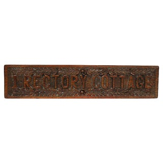 "Hand-Carved English ""1 Rectory Cottage"" Sign For Sale"