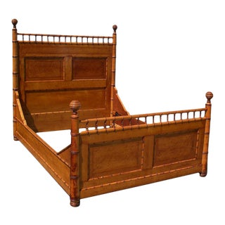 19th Century Aesthetic Movement Birds Eye Maple Faux Bamboo Queen Bedframe For Sale