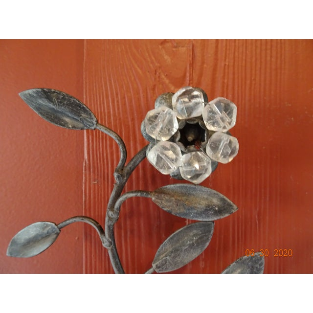 Italian Iron and Crystal Sconces - a Pair For Sale - Image 9 of 13