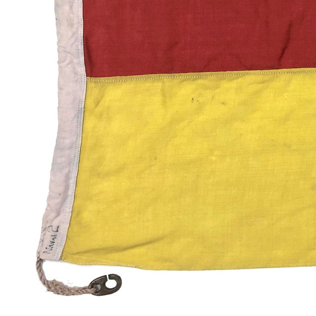 English Mid Century Nautical Wool Signal Flag For Sale - Image 3 of 6