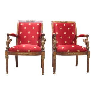 Vintage Mid Century Empire Style Chairs- A Pair For Sale