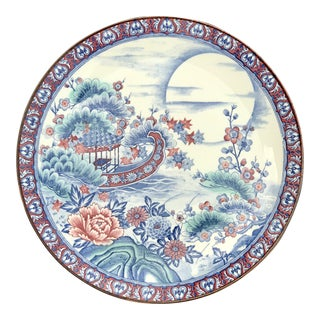Japanese Porcelain Rose & Blue Hand Decorated Plate / Charger For Sale