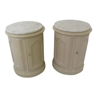 Vintage Drexel French Provincial Style Drum Tables - a Pair For Sale