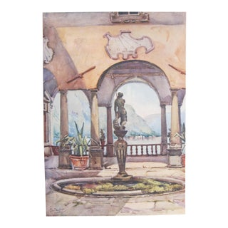 1905 Original Italian Print - Italian Travel Colour Plate - the Loggia, Villa Pliniana, Lago DI Como For Sale