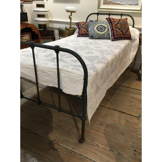 Mid 20th Century Iron Twin Bed With Original Blue Paint, 1930s For Sale - Image 5 of 10