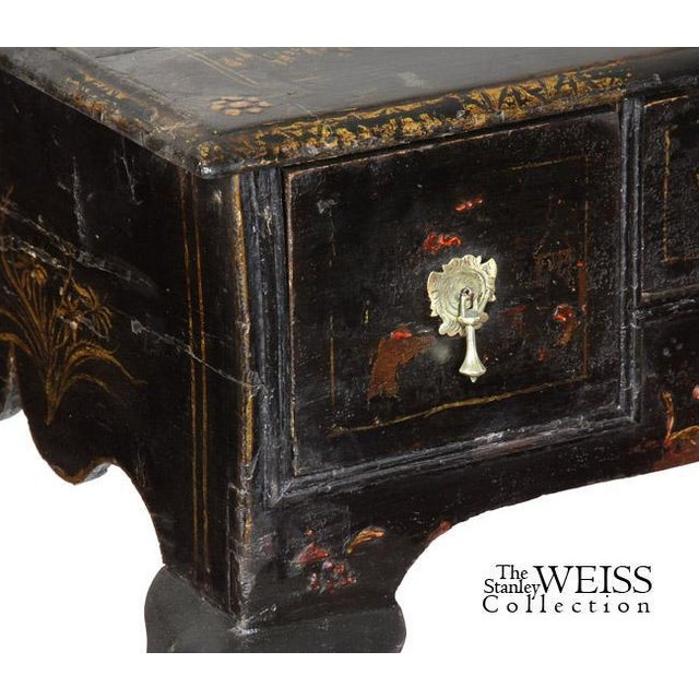 Black Lacquer Queen Anne Chinoiserie Dressing Table - Image 6 of 8