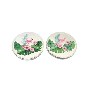 Hand Painted Flamingo Plate - Set of 12 For Sale