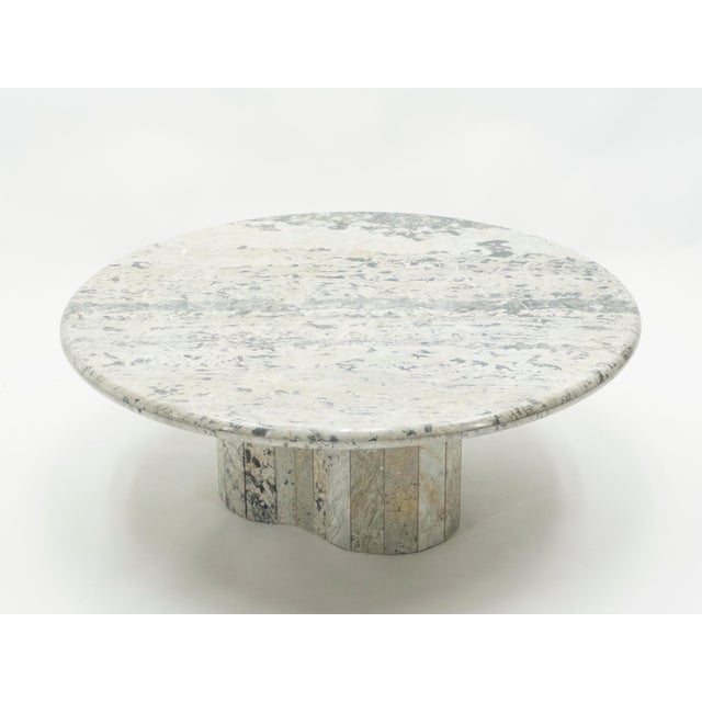 French Round Sicilian Marble Coffee Table For Sale - Image 4 of 13