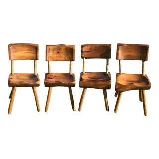 Adirondack Carved Chairs - Set of 4 For Sale