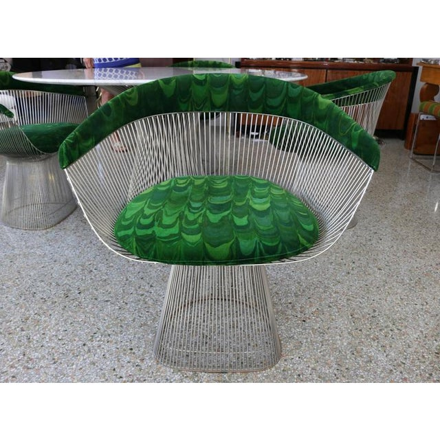 1970s 1970s Warren Platner for Knoll Marble Table With Chairs in Jack Lenor Larsen Fabric For Sale - Image 5 of 10