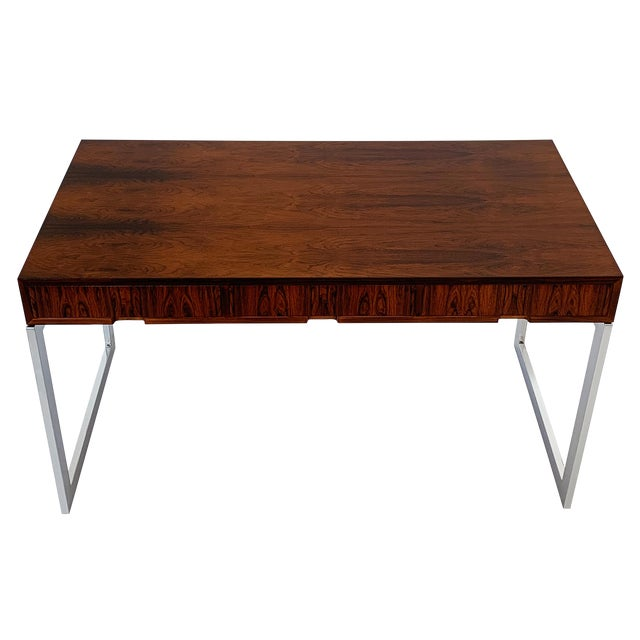 Milo Baughman Rosewood and Chrome Desk For Sale