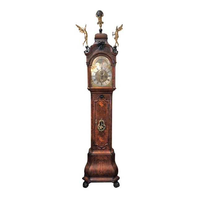 Antique 18th Century Dutch Marquetry Tall Case Clock by Maker, j.p. Kroese. For Sale