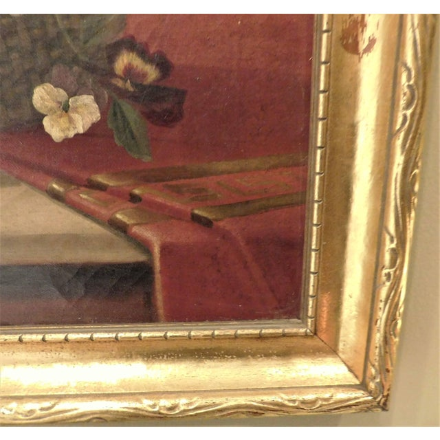 "Illustration Oil on Canvas Still Life ""Basket of Pansies"" For Sale - Image 3 of 7"