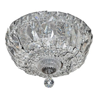 1940's Hollywood Cut Crystal Drop-Down Flush Mount Chandelier For Sale
